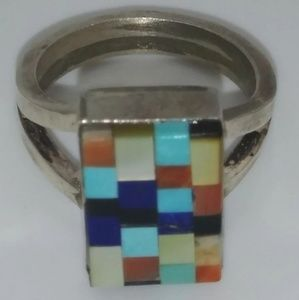 x1 MOTHER OF PEARL ONYX LAPIZ TURQUOISE RING SZ 5